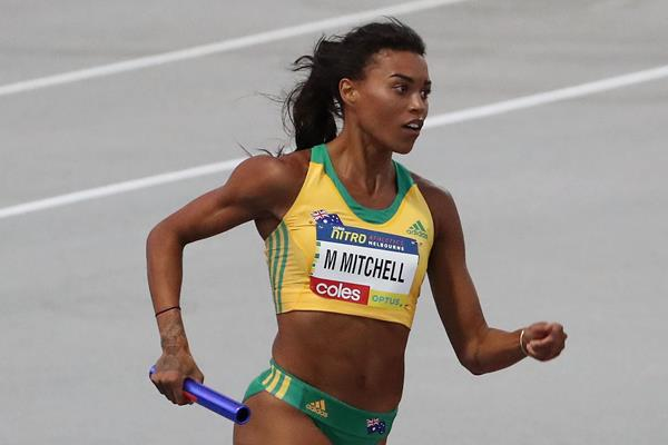 Morgan Mitchell in the distance medley relay in Melbourne (Getty Images)