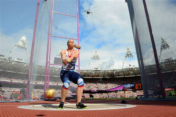 Sophie Hitchon of Great Britain competes in the Women's Hammer Throw Qualifications on Day 12 of the London 2012 Olympic Games at Olympic Stadium on August 8, 2012  (Getty Images)