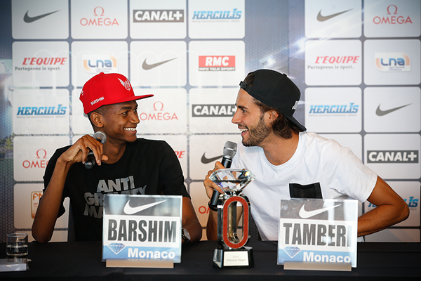 Mutaz Essa Barshim and Gianmarco Tamberi at the press conference for the IAAF Diamond League meeting in Monaco (Philippe Fitte)