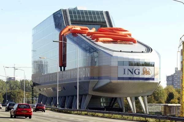 Amsterdam Marathon sponsors - ING Group HQ transformed into a giant running shoe (Capital Photos)
