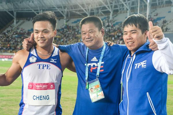 From left: Chao-Tsun Cheng, coach Sheng-Rong Hsieh and Shih-Feng Huang in Taipei City. (organisers)