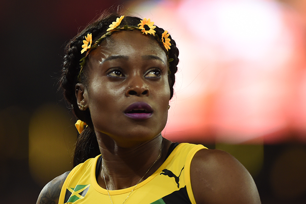Elaine Thompson after the 200m final at the IAAF World Championships Beijing 2015 (AFP / Getty Images)
