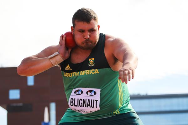 Kyle Blignaut in the shot put at the IAAF World U20 Championships Tampere 2018 (Roger Sedres)