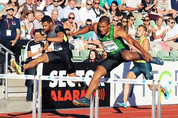 Ashton Eaton, winner of the 400m hurdles at the IAAF Diamond League meeting in Oslo (Mark Shearman)
