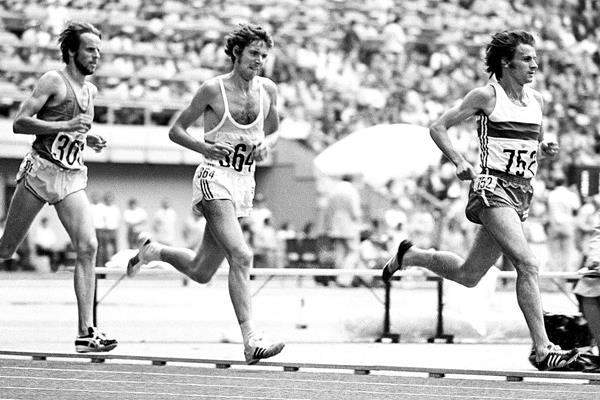 Carlos Lopes leads the 10,000m at the 1976 Olympic Games in Montreal (Mark Shearman)