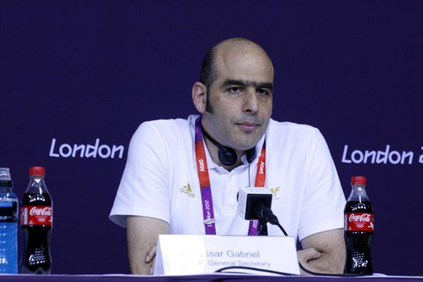 IAAF General Secretary Essar Gabriel at the IAAF on the occasion of the Games of the XXX Olympiad (Bob Ramsak)