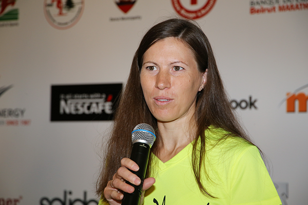 Diana Lobacevske at the press conference for the Beirut Marathon (Organisers)