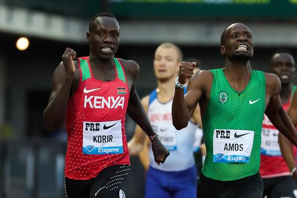 Emmanuel Korir and Nijel Amos in the homestretch of the 800m at the IAAF Diamond League meeting in Eugene (Victah Sailer)