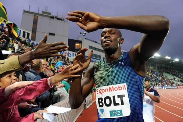 Usain Bolt at the 2013 IAAF Diamond League in Oslo (Jiro Mochizuki)