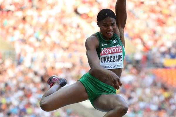 Blessing Okagbare in the womens Long Jump at the IAAF World Athletics Championships Moscow 2013 (Getty Images)