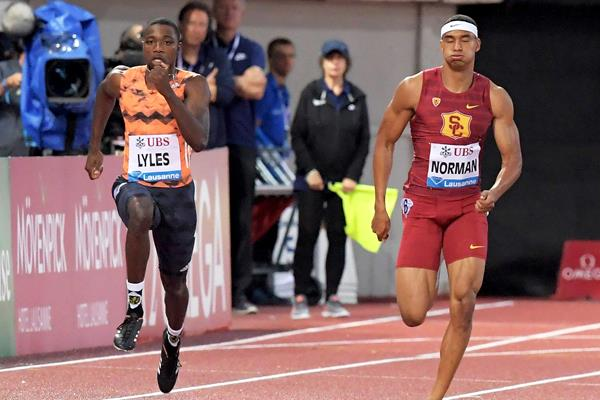 Noah Lyles and Michael Norman in the Lausanne 200m (Gladys Chai von der Laage)