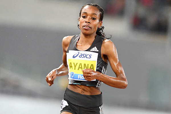 Almaz Ayana in the 5000m at the IAAF Diamond League meeting in Rome (Gladys Chai)
