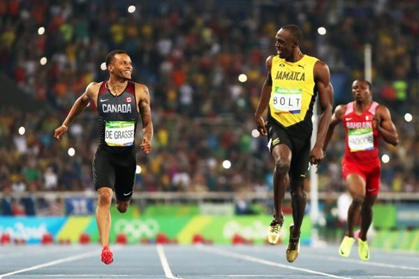 Usain Bolt and Andre de Grasse in the 200m at the Rio 2016 Olympic Games (Getty Images)