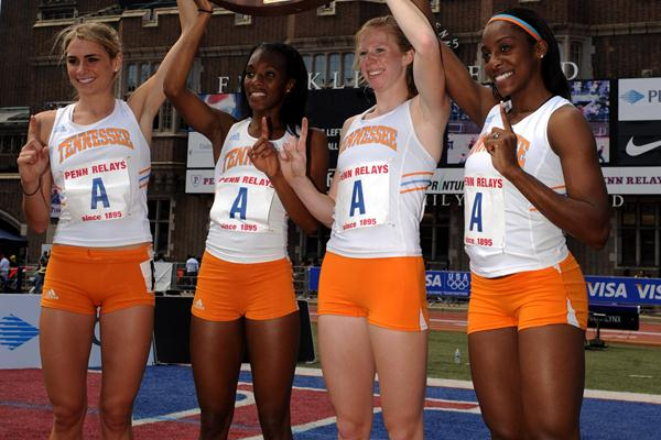 Tennessee women's 4 x 1500m Relay team after their 17:08.34 World best, from left: Sarah Bowman, Rolanda Bell, Phoebe Wright and Chanelle Price (Kirby Lee)