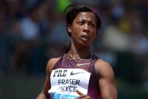 Shelly-Ann Fraser-Pryce after winning at the 2013 IAAF Diamond League in Eugene (Kirby Lee)