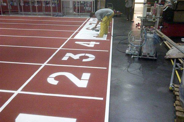 IAAF Centenary Historic Exhibition - lane numbers are painted (Chris Turner / IAAF)
