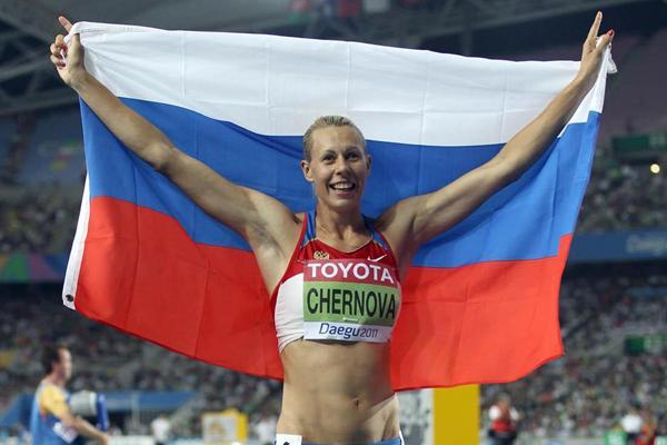 Tatyana Chernova of Russia celebrates winning the Heptathlon gold medal in Daegu (Getty Images)