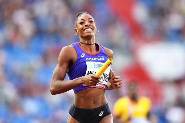 Shaunae Miller-Uibo after anchoring Team Americas to victory in the 4x400m mixed relay (Getty Images)