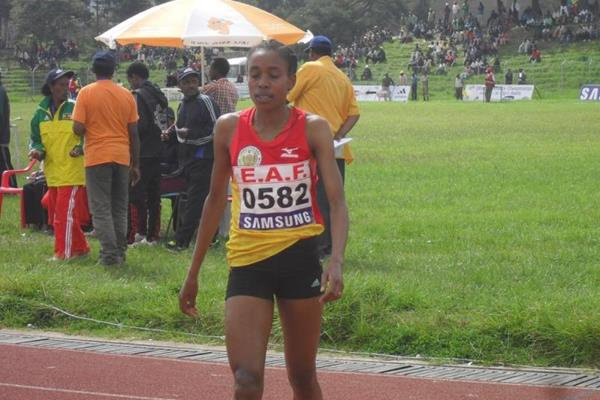 Almaz Ayana after winning the 3000m Steeplecahse at the 2013 Ethiopian championships (Bizuayehu Wagaw)