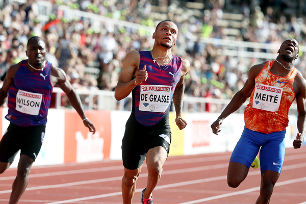 Andre De Grasse wins the 100m at the IAAF Diamond League meeting in Stockholm (Giancarlo Colombo)