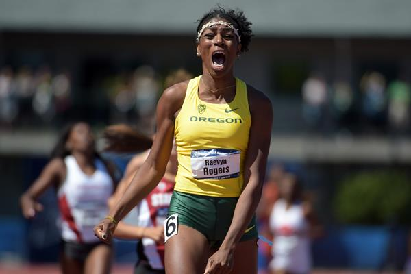 Raevyn Rogers at the 2015 NCAA Championships (Kirby Lee)