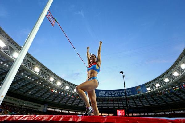Elena Isinbaeva in the womens Pole Vault Final at the IAAF World Athletics Championships Moscow 2013 (Getty Images)