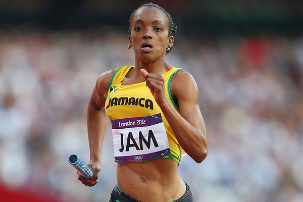 Jamaica's Christine Day in the 4x400m at the London 2012 Olympic Games (Getty Images)