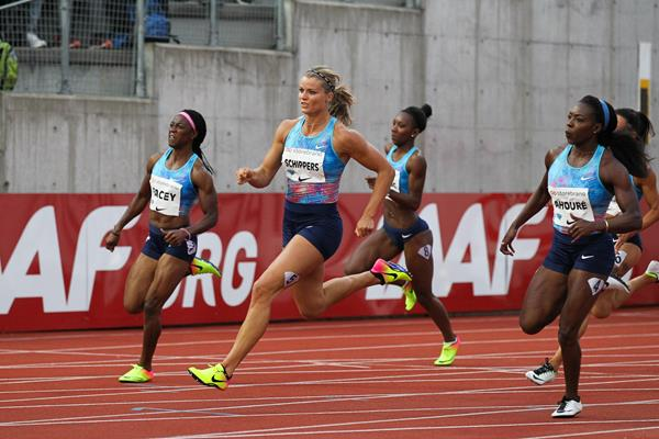 Dafne Schippers powering off the bend in Oslo (Jean Pierre Durand)