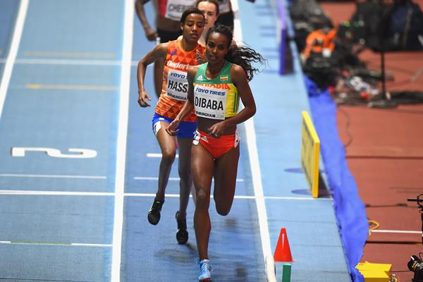 Genzebe Dibaba in the 1500m at the IAAF World Indoor Championships Birmingham 2018 (Getty Images)