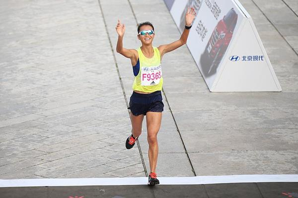 Liu Hong in action at the Beijing Marathon (Li Ming)