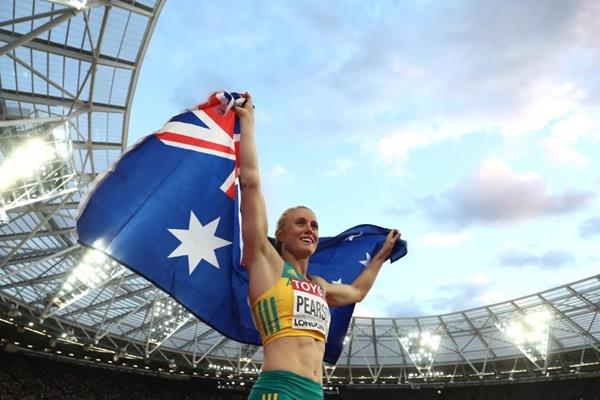 Sally Pearson after winning the 100m hurdles at the IAAF World Championships London 2017 (Getty Images)