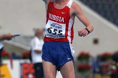 Stanislav Emelyanov of Russia celebrates his gold medal in the Men's 10,000m Race Walk (Getty Images)