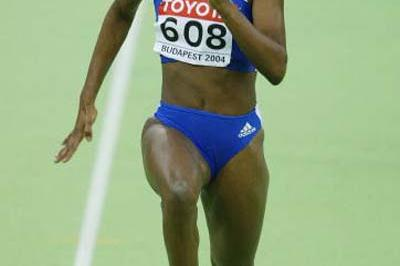 Muriel Hurtis of France winning her 60m heat (Getty Images)