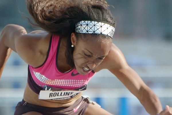Brianna Rollins speeds to a windy 12.33 at the 2013 US Championships (Kirby Lee)