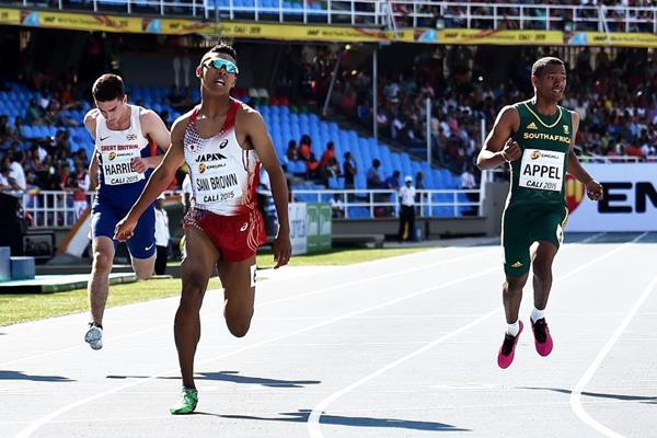 Abdul Hakim Sani Brown wins the 200m at the IAAF World Youth Championships Cali 2015 (Getty Images)