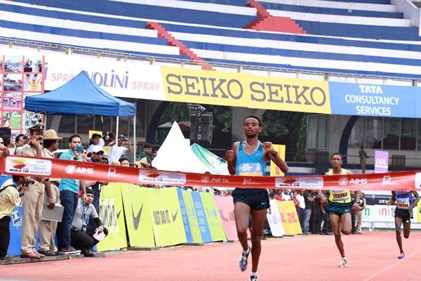 Mosinet Geremew winning the 2015 TCS World 10K (TCS World 10K organisers)