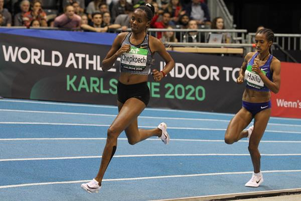 Beatrice Chepkoech competes at the 2020 Indoor Meeting Karlsruhe (Jean-Pierre Durand for World Athletics)