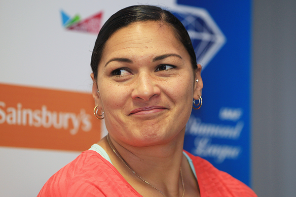 Valerie Adams at the press conference for the IAAF Diamond League meeting in London (Jean-Pierre Durand)