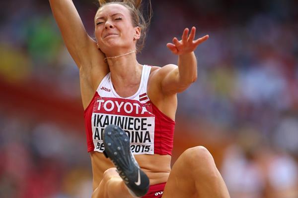 Laura Ikauniece-Admidina in the heptathlon long jump at the IAAF World Championships, Beijing 2015 (Getty Images)