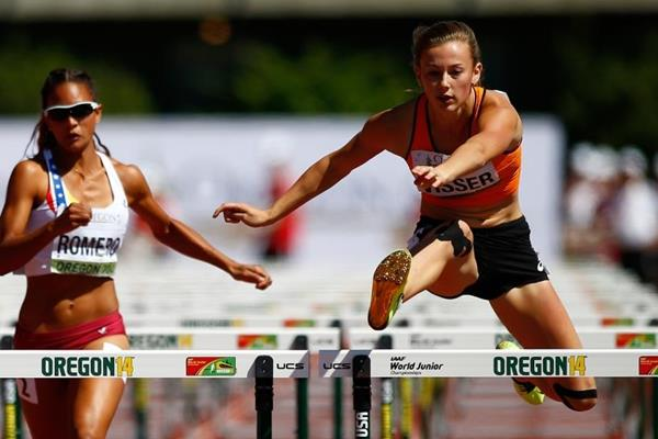 Nadine Visser in the 100m hurdles at the IAAF World Junior Championships, Oregon 2014 (Getty Images)