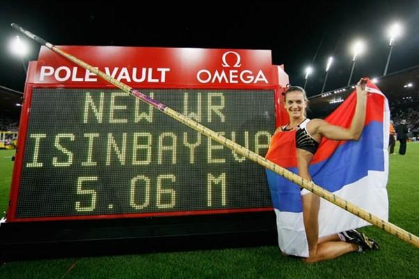 Yelena Isinbayeva adds another Pole Vault World Record to her collection at the AF Golden League in Zurich (Getty Images)