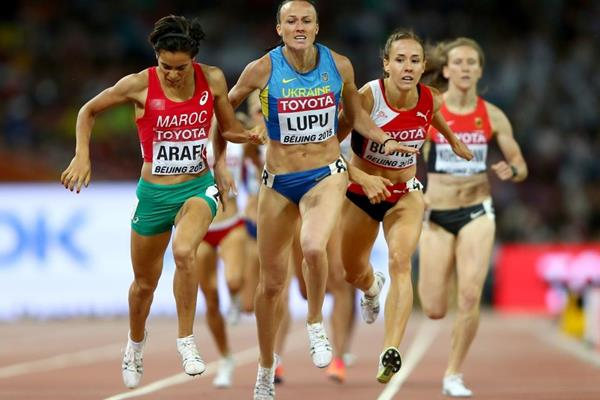 Rababe Arafi wins her 800m semi-final at the IAAF World Championships, Beijing 2015 (Getty Images)