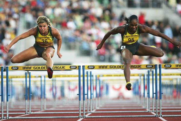 Michelle Perry of the US wins the women's 100m Hurdles in Oslo's Golden League (Getty Images)