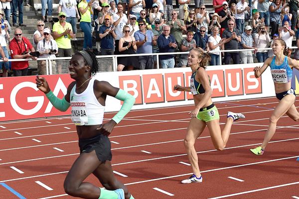 Francine Niyonsaba wins the 800m at the IAAF Diamond League meeting in Stockholm (Hasse Sjogren)