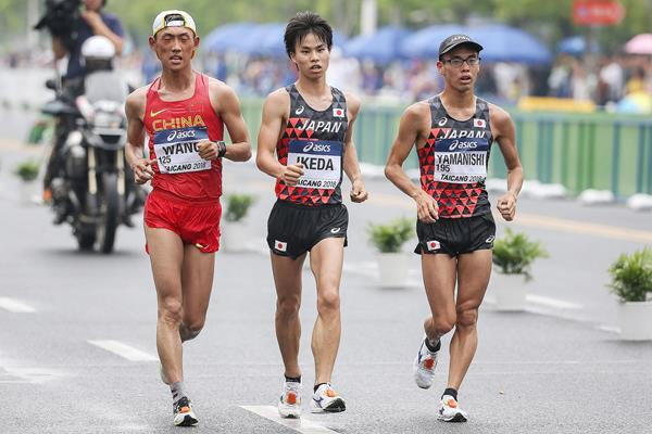 Wang Kaihua, Koki Ikeda and Toshikazu Yamanishi in action at the IAAF World Race Walking Team Championships Taicang 2018 (Getty Images)