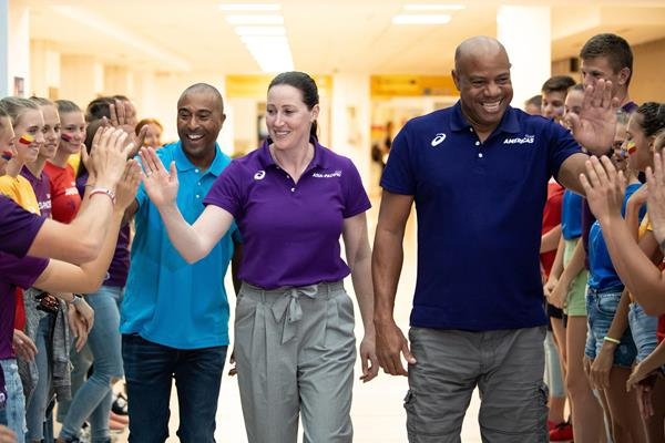 Continental Cup team captains Colin Jackson, Janna Pittman and Mike Powell arrive in Ostrava (LOC)