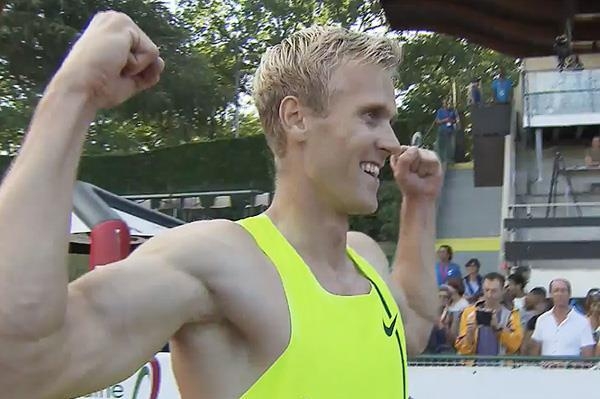 Estonia's Mikk Pahapill after winning the decathlon in Talence (IAAF)