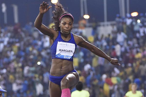 Caterine Ibarguen at the 2016 IAAF Diamond League meeting in Doha (Hasse Sjogren)