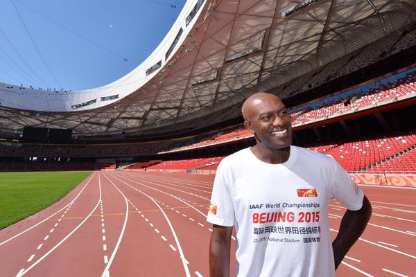 Allen Johnson in Beijing's Bird's Nest stadium (IAAF World Championships, Beijing 2015 LOC)