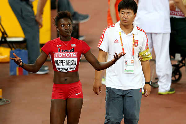 Dawn Harper Nelson after falling in the 100m hurdles at the IAAF World Championships (Getty Images)